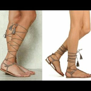 Lace up thong sandals