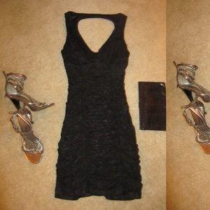 Dresses & Skirts - Holiday dress Black Ruched open back