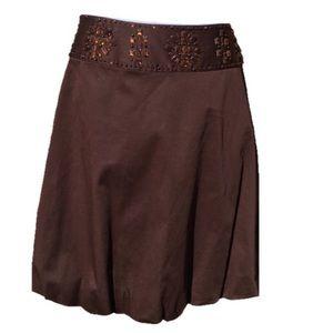 Kenar Dresses & Skirts - Lovely Kenar Brown Bubble skirt w Beaded Waistband