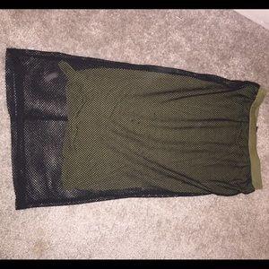 Black & Geeen Mesh Skirt.  Size S