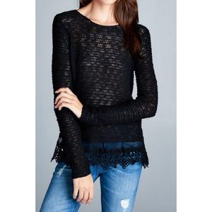 Hannah Beury Tops - Black Sweater Top With Lace Bottom