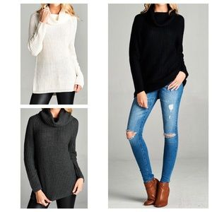 Hannah Beury Sweaters - Cowl Neck Sweater Tunic Top