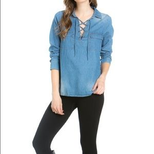 Hannah Beury Tops - Lace Up Front Chambray Top