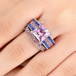White Rhodium Pink Topaz Pave CZ 2-in-1 Ring Size8
