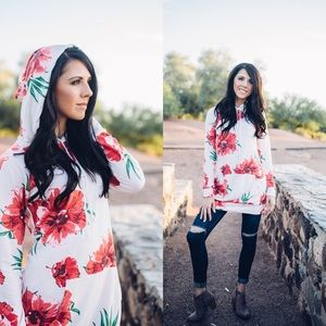 Jackets & Blazers - Floral hoodie dress