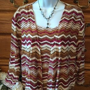 Alfred Dunner Tops - Alfred Dunner Striped Top With Attached Cardigan