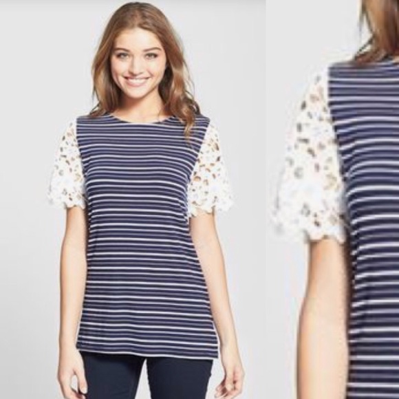 3926df4a0e3 Anthropologie Tops - Sunday in Brooklyn Striped and Lace Tee