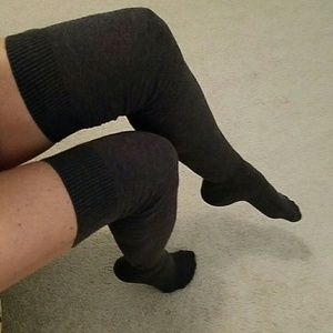 Other - Charcoal Pattern Knit Thigh High Socks NWT