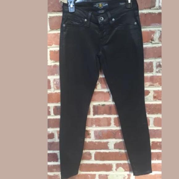 79% off Lucky Brand Denim - Lucky Brand Shiny Black Skinny Jeans 0 ...