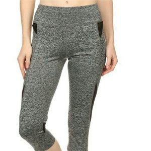 Pants - Heather black Mesh yoga capri  workout leggings