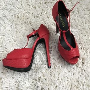 Like New Red T-Strap Heels