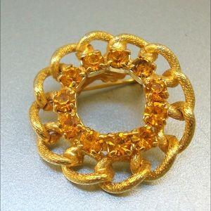 Jewelry - 1960's Amber Rhinestone Pin