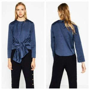 Zara Tops - Zara Poplin Tie Front Blouse