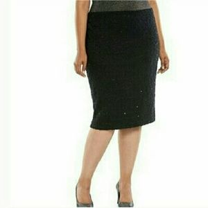 🏮New JLO 3x Black Sequin Pencil Skirt