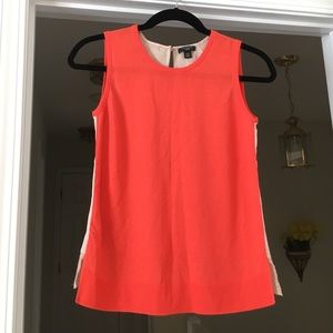 Ann Taylor sleeveless knit/lace red orange top