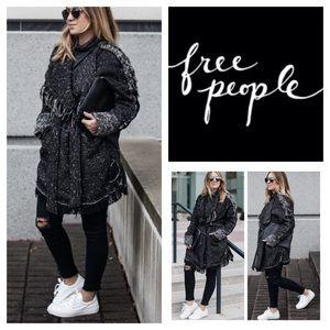 Free People Jackets & Blazers - Free People Tweed Fringe Wrap Blanket Coat.  NWT.