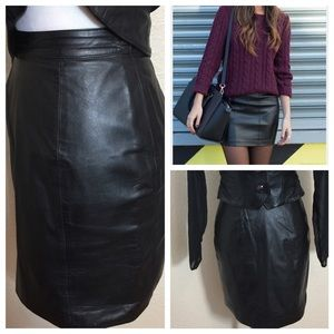 Leather Gorgeous Black Pencil Straight Skirt Sz 6