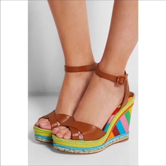 9e562e0e7ee Valentino Multicolor Espadrille Wedge Sandals