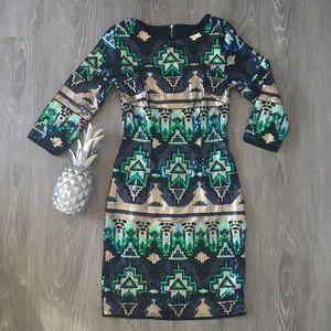 TFNC Bodycon Mini Dress Aztec Sequin Dress