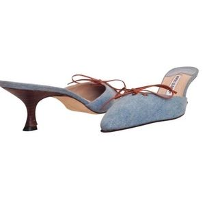 Manolo Blahnik Shoes - NIB [Manolo Blahnik] Washed Denim Mules
