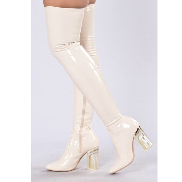 e49138c884f Thigh High Patent Nude Perspex Heel Anti Boot