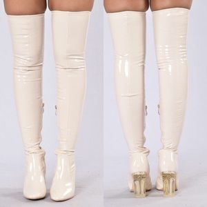 0277bae879 Fashion Nova Shoes | Thigh High Patent Nude Perspex Heel Anti Boot ...