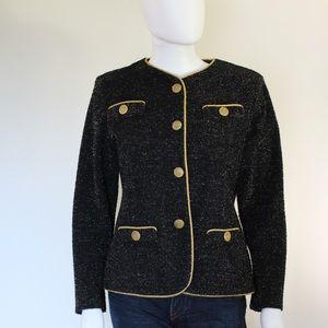 Vintage 1970's Black Gold Glitter Jacket Blazer
