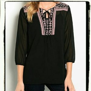 New SHEER Black EMBROIDERED Peasant Top
