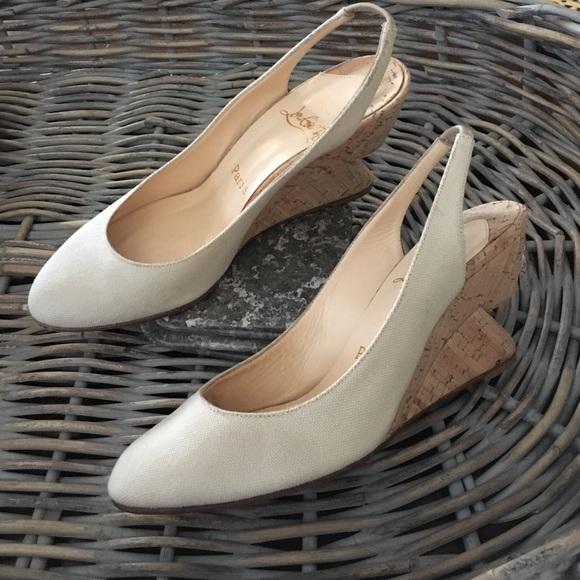 eaba4d1410ab Christian Louboutin Shoes - Christian Louboutin Canvas Bebe-fusee cork  wedges