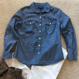 Old Navy Polka Dot Chambray Shirt