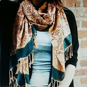 Hand Printed Scarf with Vegetable Dye Brand New