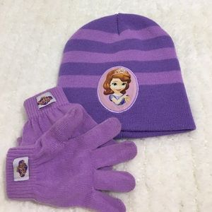 Disney Other - Disney Jr. Sophia the First Hat & Gloves Set EUC💖