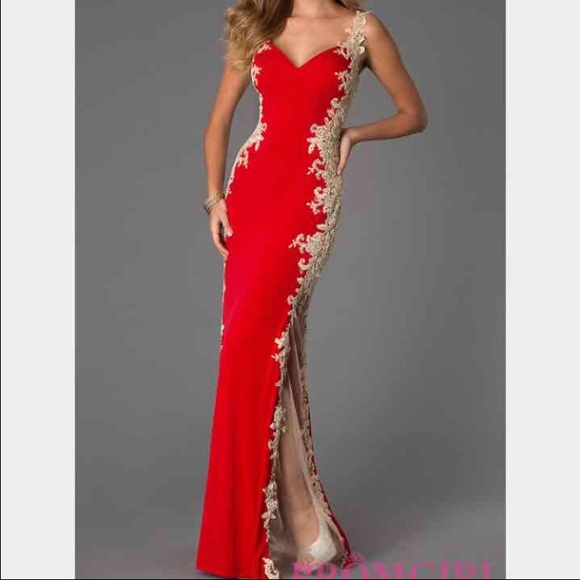 Jovani Dresses Red Gold Prom Dress Gown Poshmark