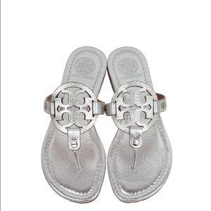 Tory Burch Shoes - Tory Burch Silver Metallic Millers
