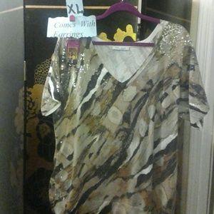 Marina Rinaldi Tops - Sequins Tiger Leopard XL Top & EARRINGS gold brown