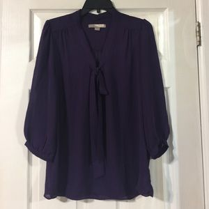 Deep Purple Bow Blouse