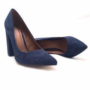 ShuShop Shoes - ShuShop Navy Blue Block Heel Pumps