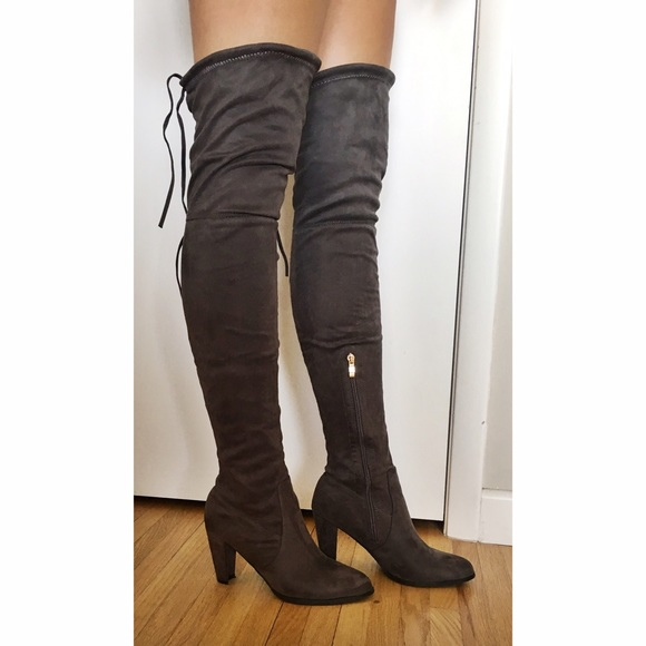ee58651b4 Catherine Malandrino Shoes - Thigh high faux suede gray boots over the knee