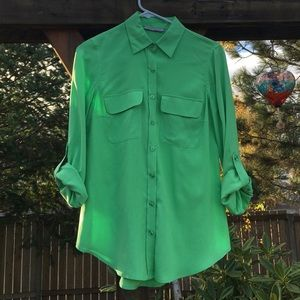 Nexx Tops - NWOT Green Button Down Top 100% Silk