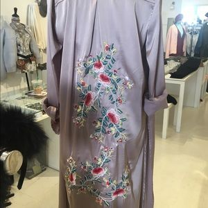 Jackets & Coats - Silk embroidered robe/duster coat