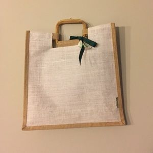 Canvas tote with wood handles