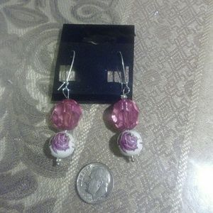 V Styled  Jewelry - Rose Dangle Earrings pink silver white green