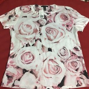 Forever 21 Tops - Forever 21 F21 Pink Rose T Shirt L NWT