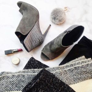 Sigerson Morrison Gray Suede and Croc Booties