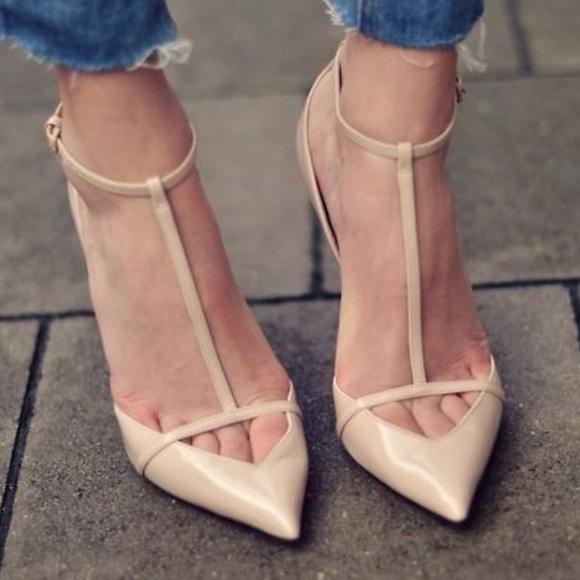 b6ac2bae61a Zara Women s Low Cut T-bar Patent Leather heels