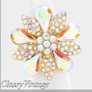 boutique Jewelry - Gold Aurora borealis crystal flower ring