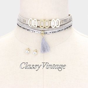 boutique Jewelry - Embellished leather choker with tassel