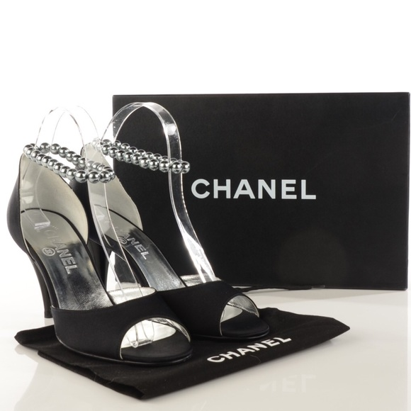 6eedc91be472 CHANEL Satin Pearl Ankle Strap Pumps Black 37