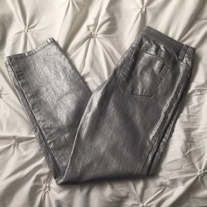 Denim - Chico's Silver Metallic Denim Jeans