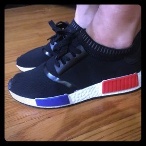 ❗SALE❗Black Sneakers with red white and blue